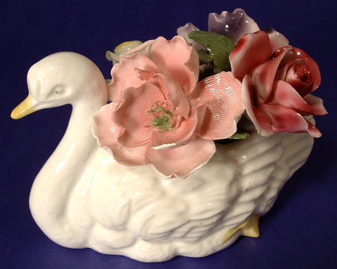 Swan Flower Bone China Paperweight Posy Vintage Thorley