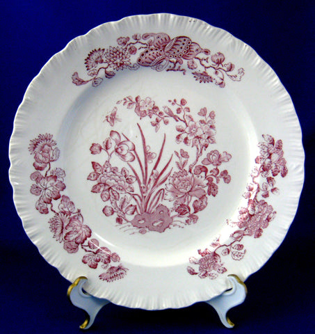 Wedgwood Mulberry Transferware Plate Shells Floral 1957 Purple 8.25 Inch
