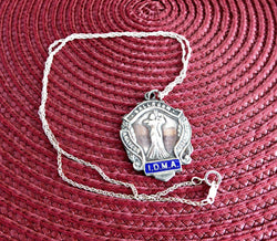 English Hallmarked Fob Medal Sterling Silver Waltz Dance Necklace 1952 IDMA
