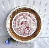 Plate Coronation Queen Elizabeth II Collingwood Canada 1953 Red And Gold