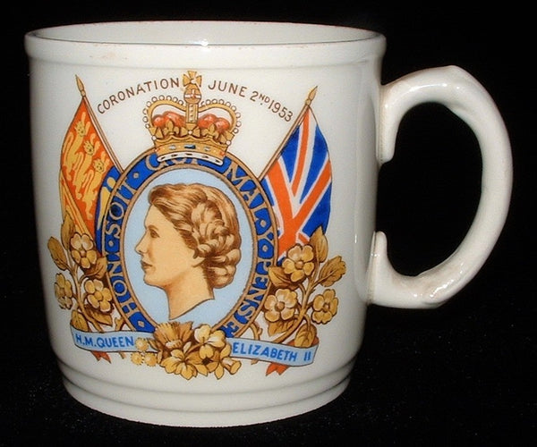 25% OFF Today! Mug Coronation Queen Elizabeth II England Ironstone 1953 Johnson Brothers