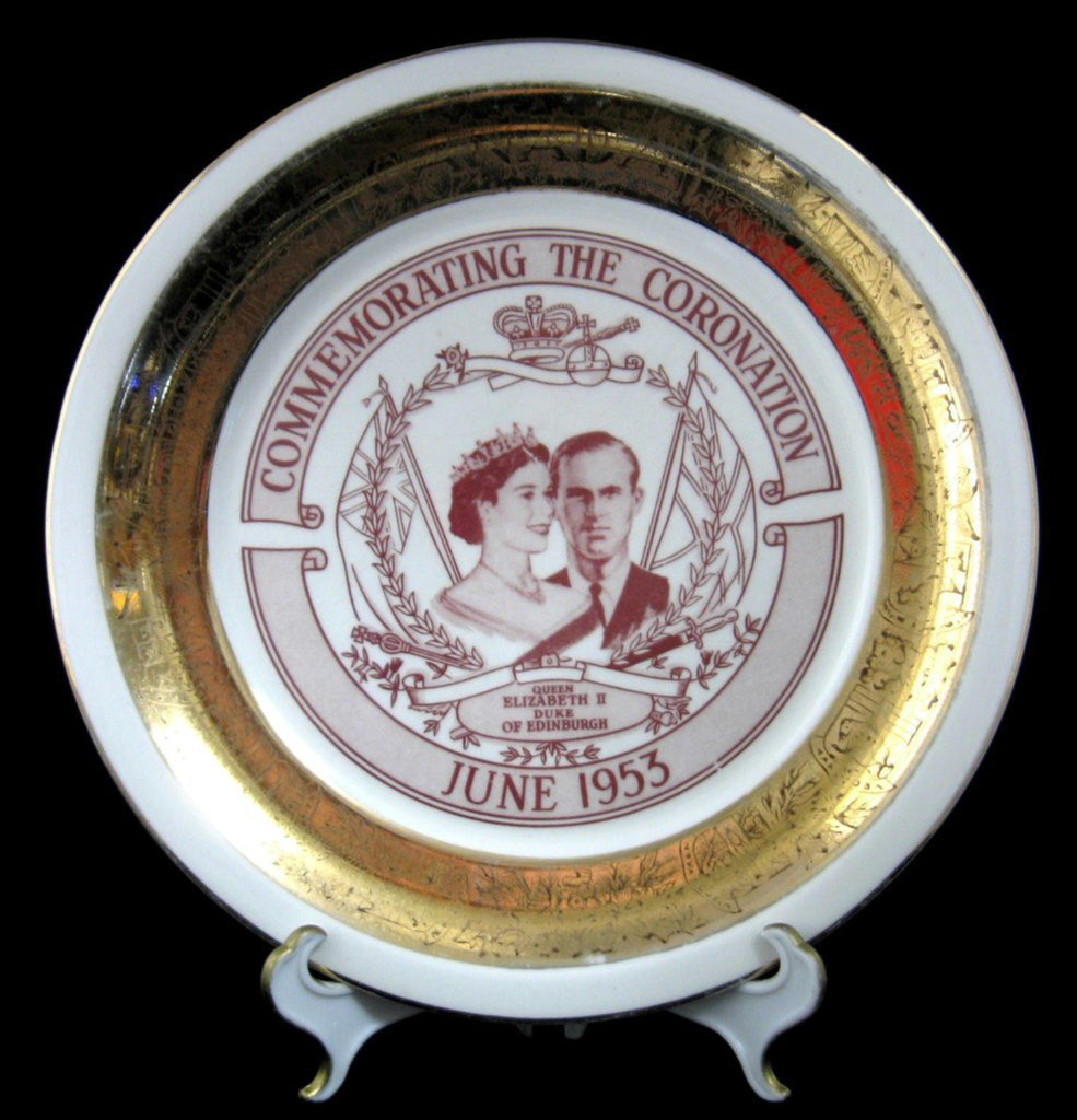 Plate Coronation Queen Elizabeth II Collingswood Canada 1953 Red And Gold