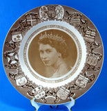 Queen Elizabeth II Coronation Plate Clarice Cliff Sepia 1953 For Canada