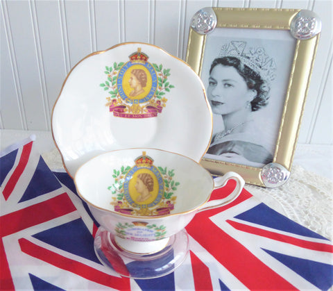 Coronation Queen Elizabeth II Cup And Saucer Cipher Pedestal 1953 Rosina Gold Profile