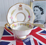 Coronation Queen Elizabeth II Cup And Saucer Photo United Kingdom Flowers 1953 Rosina