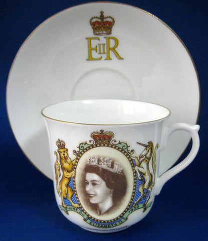 Shelley Cup And Saucer Coronation Queen Elizabeth II Roya;ty 1953