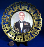 Coronation Plaque Prince Philip 1953 Brass Crown Cut Out Rim Photo