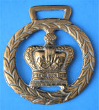 Horse Brass Crown Laurel Wreath England Queen Elizabeth 1953 Coronation
