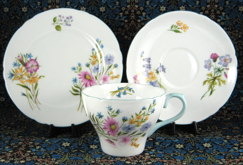 Shelley Wild Flowers Trio Teacup Saucer Plate Cambridge Shape 1950s Blue Trim