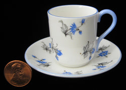 Shelley China Miniature Cup And Saucer Blue Charm Canterbury Shape 1956-1966