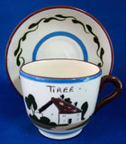 Mottoware Cup Saucer Torquay Royal Watcombe A Rolling Stone Gathers No Moss