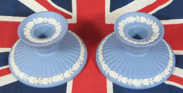 Candle Holder Pair Wedgwood Blue Jasperware 1959 Oak Leaves Acorns