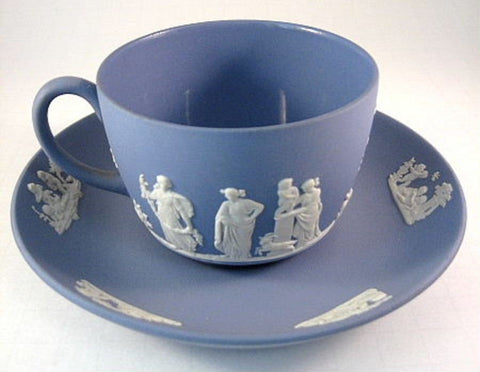 Wedgwood Jasperware Cup and Saucer Sacrifice With Lamb Goat 1959