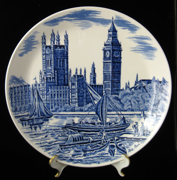 Blue Transferware Big Ben Commemorative Plate 1959 Johnson Brothers