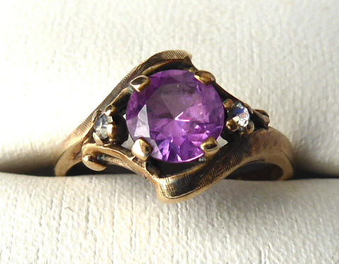 Pretty 10kt Gold Ring Vintage Pink Topaz Faux Diamonds 1960s Florentine Finish 10k