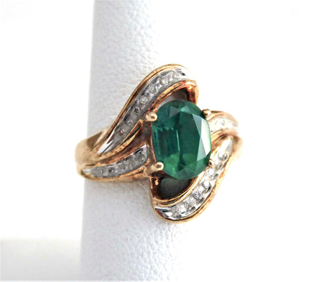 Estate Ring Green Tourmaline And Faux Diamond Ring 10k Gold 1970s Fancy Swirl