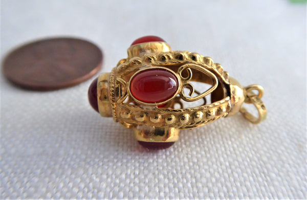 Italian Etruscan Charm 18kt Gold Carnelians 1960s 18k Gold Hand Made Italy