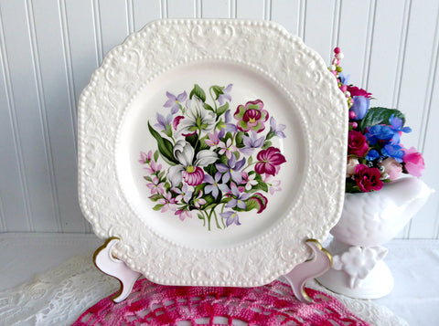 Canada Provincial Flowers 1960s Fancy Square Plate Lord Nelson England Souvenir