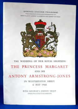 Royal Wedding Program Princess Margaret Armstrong-Jones 1960 Original Programme