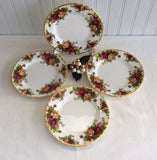 Set Of 4 Royal Albert Old Country Roses Bread Plates Side 1970s Made In England