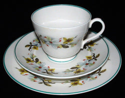 Shelley Bailey's Dogwood Teacup Trio Windsor Teal Trim 1960s