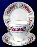 Shelley Teacup Trio Blenheim Carlisle Shape Maroon Grey Filigree 1960s