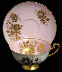 Gorgeous Shelley Cup and Saucer Lilac Pink Gold Rose Lincoln England 1960s
