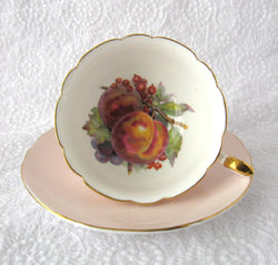 Shelley China Fruit Center Cup And Saucer Boston Shape Pale Pink