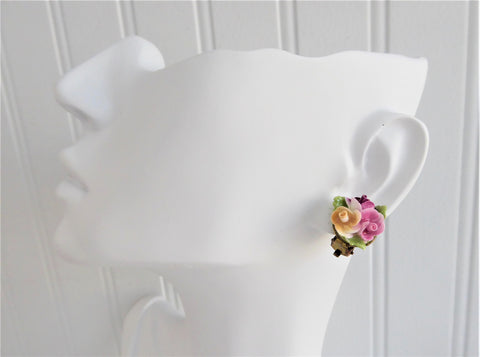 Rose Bouquet Earrings Bone China Rose Posy Vintage 1960s Thorley Hand Made