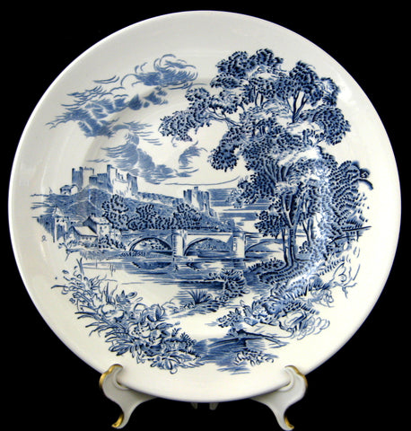 Wedgwood Countryside Blue Transferware Plate 1960s Ironstone 10 Inches