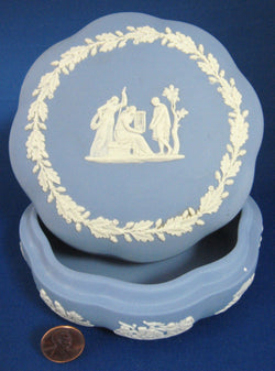 Wedgwood Jasperware Scalloped Blue Box 1960s Group With Cage England