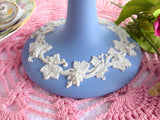 Wedgwood Blue Jasperware 1960s Pedestal Server Compote Taza Grapevines