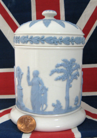 Wedgwood Queens Ware Box Cylinder Lidded Classical Figures 1960s Blue on White