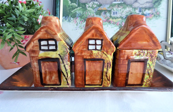 Cottageware Condiments Cruets Salt Pepper Mustard Tray Price Kensington 1960s Cottages