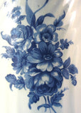 Blue Transferware Pitcher Jug 8 Inches Floral England 1950s Blue and White