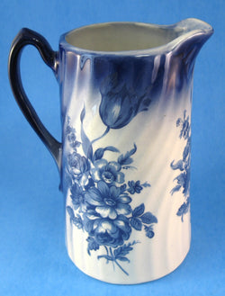 Staffordshire Pitcher Jug Blue Transferware 7 Inches Floral England 1950s