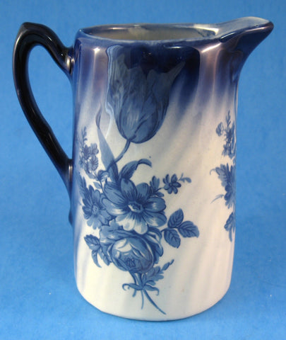 Pitcher Jug Blue Transferware Floral England Small Blue And White 1950s