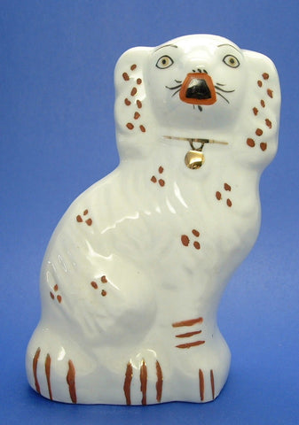 English Staffordshire Dog 7 Inch Rust White Pot Dog 1960s Mantle Dog