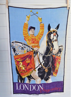 Horse Guards Drummer Tea Towel 1960s London Pageantry Ulster Irish Linen Dish Towel