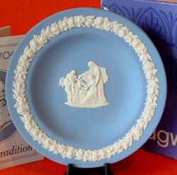 Plate Wedgwood Blue Jasper Jasperware Dish Cupid Oracle 1960s Boxed