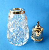 Muffineer Sterling Silver Top Sugar Shaker Lead Crystal 1962 Sugar Caster English Hallmarked