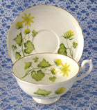 Shelley Cup and Saucer Celandine Lincoln Shape England 1960s Yellow Flowers