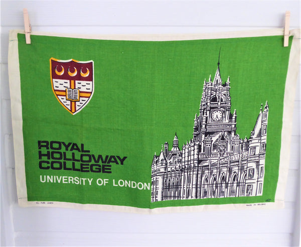 Tea Towel Irish Linen Royal College Holloway London Banner 1969 Green