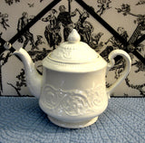 Wedgwood Patrician Teapot Queen's Ware Embossed Floral 1960s 28 Ounces Cream