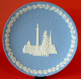 Trafalgar Square Blue White 1970 Jasperware Christmas Plate Wedgwood Holiday London