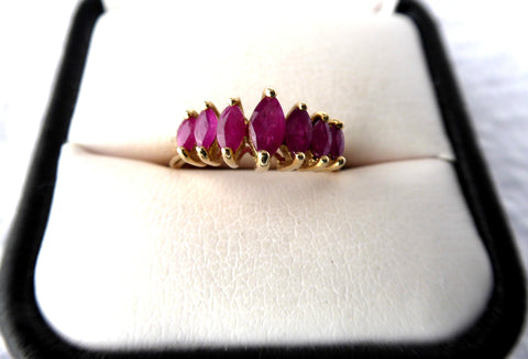 Ladies Ring Gold 7 Rubies Marquise Cut 1970s Estate 3 Carats July Birthday Multi Stone