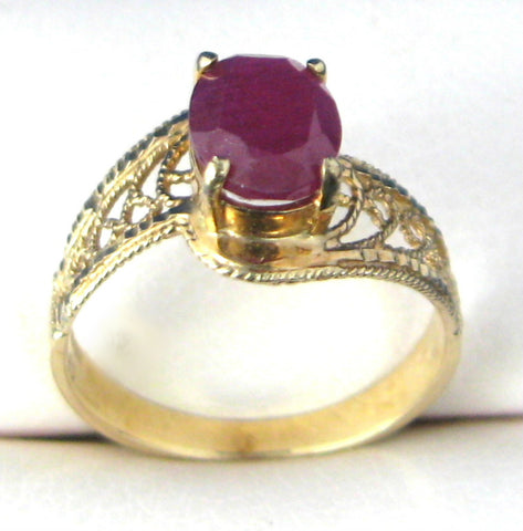 Genuine Ruby Ring 10k Gold Oval 1970s Filigree Wedding Engagement Ring July Birthday 10kt