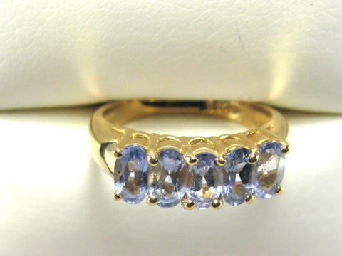 Ring Solid 14kt Gold With 5 Oval Tanzanites Engagement 1970s Wedding Band Lavender And Gold