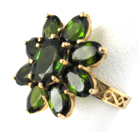Green Tourmaline Flower Form 1970s Ring 14kt Gold Cluster Engagement Ring Dinner Ring