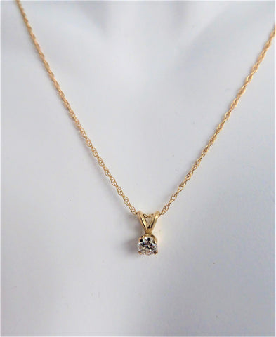 Diamond Necklace 14k Yellow Gold Near Quarter Carat Round Diamond 14kt Gold Chain